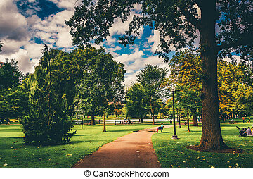 Path through the Public Garden in Boston, Massachusetts.