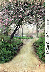 Pathway through blooming trees on a grunge background.