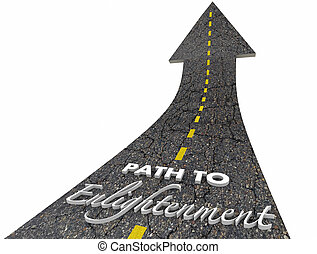 Path to Enlightenment Faith Hope Road Words 3d Illustration
