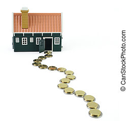 House at the end of a long and devious money path - isolated (clipping path)