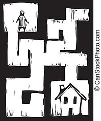 Path to Housing - Man must travel through maze to get to...