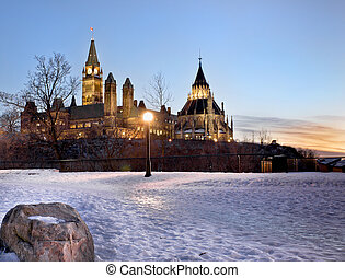 Path to Politics - The Canadian Parliament in winter, seen...
