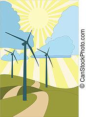 Path to renewable energy - EPS Vector Three wind turbines...