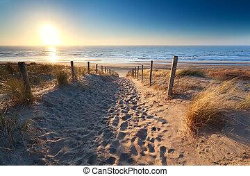 path to sand beach in North sea, Zandvoort aan zee, North...