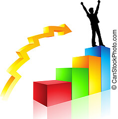 path to success - a graph of a man\'s rise to success,...