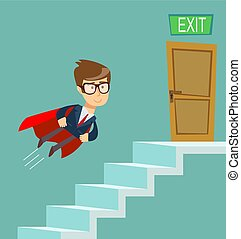 Business concept growth to success, Reach the target, Cartoon vector illustration