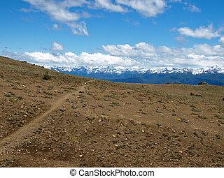 path to the mountain range