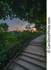 Path to the top of Xianggong Hill viewpoint at dusk