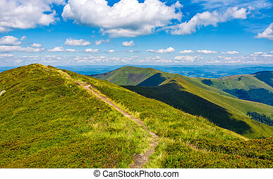 path to top peak of the ridge. gorgeous summer landscape