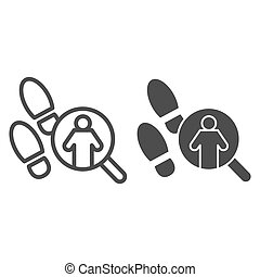 Pathfinder magnifier line and solid icon. Footprint and searching, inspecting crime tracks. Jurisprudence design concept, outline style pictogram on white background, use for web and app. Eps 10.