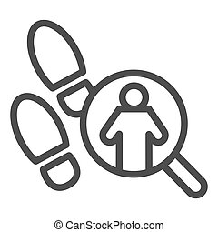 Pathfinder magnifier line icon. Footprint and searching, inspecting crime tracks. Jurisprudence design concept, outline style pictogram on white background, use for web and app. Eps 10.
