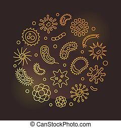 Pathogen and viruses round vector golden outline...