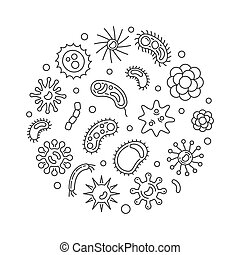 Pathogen and viruses round vector minimal line illustration...