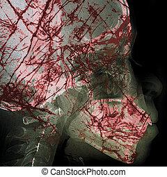 pathogen, astratto, con, raggi x, film, fondo, su, doppia...