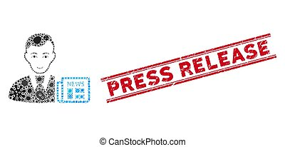 Pathogen Collage Businessman News Icon and Textured Press Release Stamp with Lines