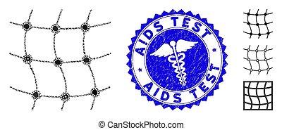 Pathogen Collage Mesh Network Icon with Medical Textured AIDS Test Stamp