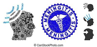 Pathogen Collage Radio Reception Head Icon with Serpents Scratched Meningitis Stamp