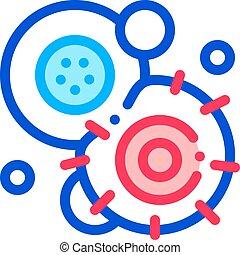 pathogen, elemento, pare cela, canceroso, vetorial, ícone