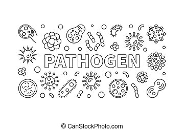 Pathogen horizontal illustration. Vector banner made with...