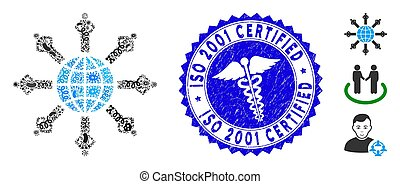 Pathogen Mosaic Planetary Society Icon with Healthcare Distress ISO 2001 Certified Stamp