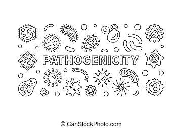 Pathogenicity outline banner. Vector pathogen illustration -...