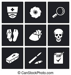 Pathologist and morgue icons - Dead body Vector Isolated...