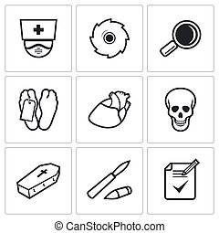 Pathologist and morgue icons set. Vector Illustration - Dead...