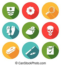 Pathologist and morgue Icons Set. Vector Illustration. -...