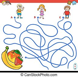 paths maze game with children and fruits