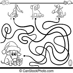 Black and White Cartoon Illustration of Paths or Maze Puzzle Activity Game with Dog Animal Characters on Christmas Time Coloring Page