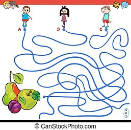 paths maze game with kids and fruits