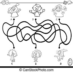 Black and White Cartoon Illustration of Paths or Maze Puzzle Activity Game with Children and Clowns Characters Coloring Book