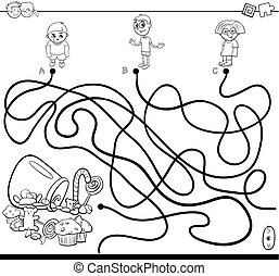 Black and White Cartoon Illustration of Paths or Maze Puzzle Activity Game with Children Characters and Sweet Food Coloring Book