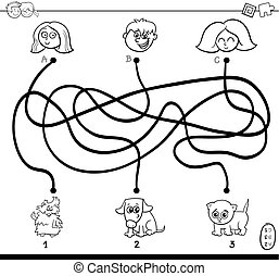 paths maze with kids and pets coloring page - Black and...