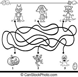 Black and White Cartoon Illustration of Paths or Maze Puzzle Activity Game with Children and Halloween Characters Coloring Book