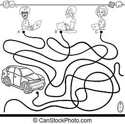 Black and White Cartoon Illustration of Paths or Maze Puzzle Activity Game with People with Laptops and Car Coloring Book