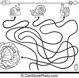 Black and White Cartoon Illustration of Paths or Maze Puzzle Activity Game with Snail Characters and Lettuce Coloring Book