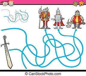 Cartoon Illustration of Education Path or Maze Game for Preschool Children with Knights and Sword