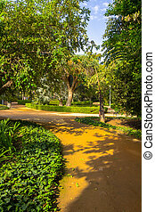 paths to stroll through the gardens of the Parque de Malaga, Spa