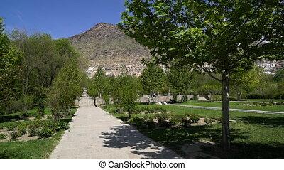 Pathway at Tomb of Babur in Bagh-e Babur, Kabul, Afghanistan...