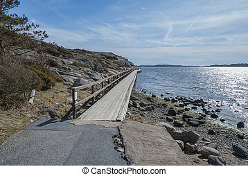Pathway by the ocean in Tanumsstrand