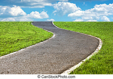 Pathway - narrow winding pathway in a lush green grass