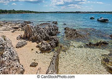 Pathway on the beautiful rocky beach in Istria