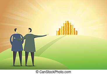 Vector illustration of a man pointing out heaps of gold coins on top of a hill.