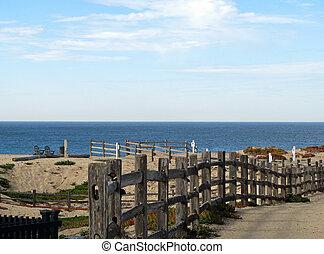 Pathway to Ocean on Monterey Bay Beach California