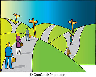 Business professionals on a road with multiple divergent paths to choose from.