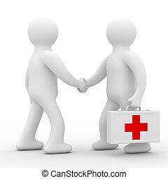 patiënt, arts, beeld, vrijstaand, achtergrond., witte , 3d