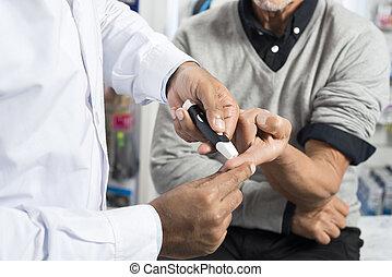 patiënt, arts, controleren, niveau, suiker, senior, glucometer