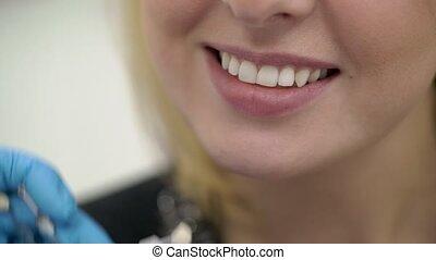patiënt, arts, controleren, whiteness, tandarts, teeth