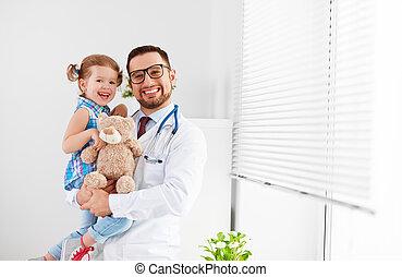 patiënt, arts, kinderarts, kind, meisje, mannelijke , vriendelijk, vrolijke